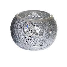 silver tea light holders wilko glass mosaic tealight holder silver at wilko com