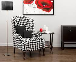 Slipcovers For Rocking Chairs Hudson Black Wing Chair Slipcover Houndstooth Pinterest