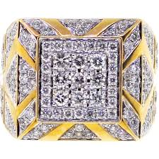 gold square rings images Mens diamond large square pinky ring 14k yellow gold 3 69 ct jpg