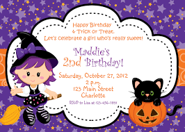 2nd Birthday Invitation Card Halloween Birthday Invitations Kawaiitheo Com