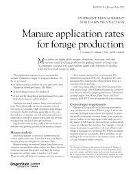 manure application rates for forage production osu extension