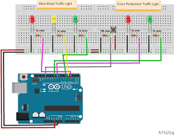4 way traffic light using arduino control traffic lights with a push button osoyoo com