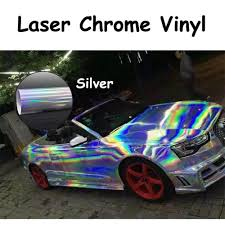 chrome wrapped cars sale holographic laser chrome iridescent vinyl wrap car film