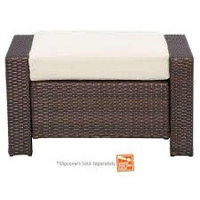 Wicker Outdoor Ottoman Steel Outdoor Ottomans Outdoor Lounge Furniture The Home Depot