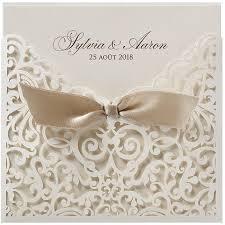 faires parts mariage faire part mariage pochette beige façon dentelle ruban belarto