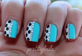 blue polka dot nail art love letter nails nail letters designs