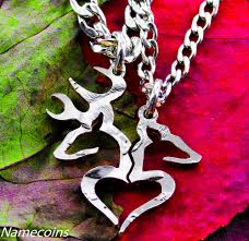 girl heart necklace images Country necklace girl and boy buck and doe heart broken in jpg