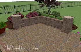 Backyard Brick Patio Design With Grill Station Seating Wall And by Cobbled Paver Patio Design With Seating Wall Downloadable Plan