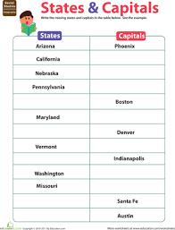 states u0026 capitals social studies pinterest worksheets us