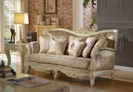 Traditional Sofa Pearl White Traditional Sofa With Crystal Tufted Back