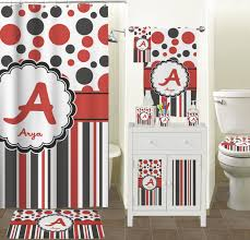 Red White Shower Curtain Red U0026 Black Dots U0026 Stripes Shower Curtain Personalized Potty