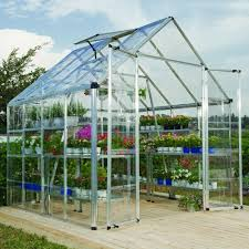 Palram Polycarbonate Greenhouse Palram Snap And Grow 8 Ft X 8 Ft Silver Polycarbonate Greenhouse