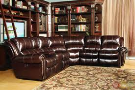 Leather Motion Sectional Sofa Living Poseidon Traditional Brown Leather Power Motion