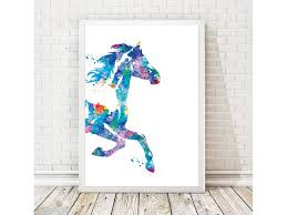 Purple Nursery Wall Decor by Watercolor Print Horse Painting Horse Poster Horse Wall Decor
