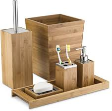 Bathroom Vanity Accessories Home Basics Bamboo Bathroom Accessory Sets