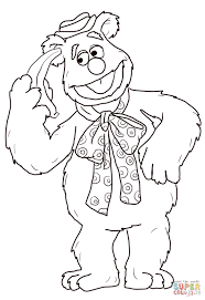 fozzie bear with banana coloring page free printable coloring pages