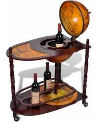 winter shopping special vintage wooden globe wine rack bar