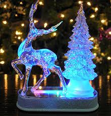 Amazon Outside Christmas Decorations Reindeer And Christmas Tree Color Changing Acrylic Table Top