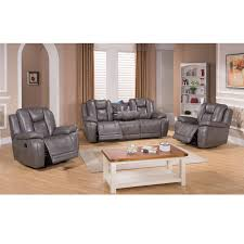 galaxy gray top grain leather lay flat reclining sofa and two