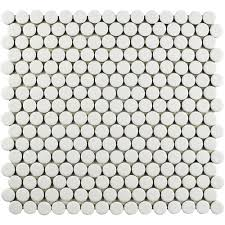 penny  mosaic tile  tile  the home depot with hudson penny round crystalline white  in x  in from homedepotcom