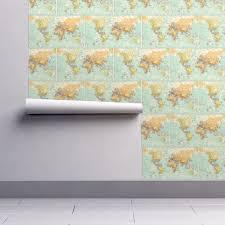 Map Fabric World Map Fabric Wallpaper Sleepymountain Spoonflower