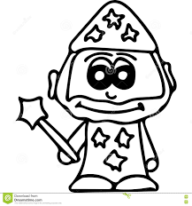 cute wizard kids coloring page stock illustration image 78131428