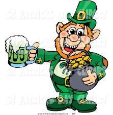 clip art of a happy saint patricks day leprechaun holding a pot of