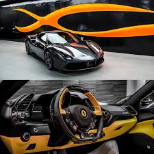 ferrari yellow and black ferrari 488 gtb grey with yellow and black interior seats door