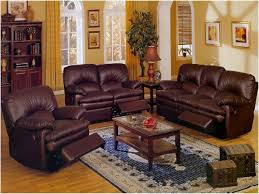 brown leather sofa with rectangular brown wooden table and blue