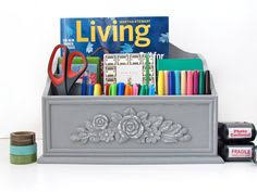 french provencal curvy floral desk organizer gray chalk painted