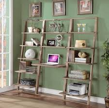 furniture best large oak wood leaning bookcase with desk