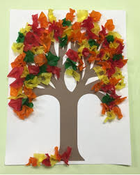 use your pencil to make the leaves for this fall tissue paper tree