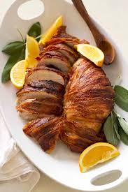 thanksgiving bacon bacon wrapped maple bourbon turkey breast versus dough