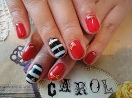 red black u0026 white striped nails perfect for a semo football game