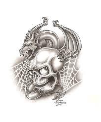 skull and dragon by tattoobiker on deviantart