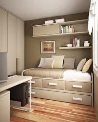 Bedside Table Desk Small Apartment Bedroom Design Brown Laminated Bed Frame Bedside