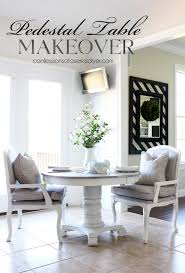 White Washed Kitchen Table by Pedestal Kitchen Table Makeover Confessions Of A Serial Do It