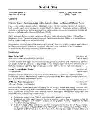 Equity Research Resume Sample by David J Oller Resume