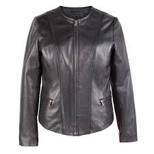 sophie collarless leather jacket black hidepark
