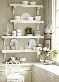 design cool corner white wooden shelves with ceramic collections