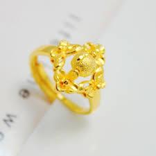 bridal gold rings fashion rings plated yellow gold ring bead transfer bridal