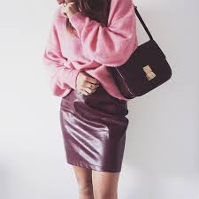 pink knitwear and red leather skirt love being petite