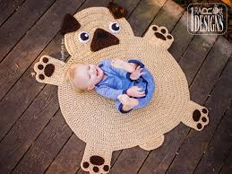 Kids Animal Rugs Pug Puppy Dog Animal Rug Nursery Mat Crochet Pattern For Babies