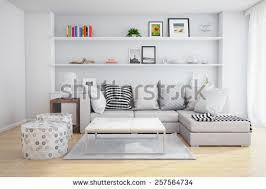 3d rendering interior living room shelves stock illustration