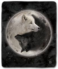 the mountain yin yang wolves fleece blanket