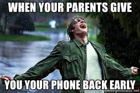 Happy Guy Meme - when your parents give you your phone back early extremely happy