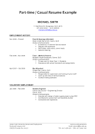 Child Care Job Resume Part Time Resumes Sample With Employment History And Volumtary