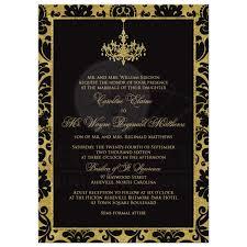 wedding invitation black damask faux gold foil chandelier