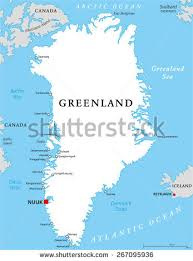 capital of canada map greenland political map capital nuuk important stock vector