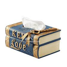 decorative tissue box tissue box resin book rectangular creative rustic blue